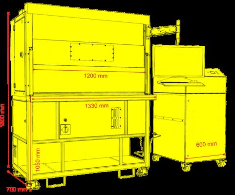 skyLaser MARK 1200 Schema skyLASER Mark 1200 Lasergravur Laser Faserlaser 120x120 bis zu 300x300 mm Scannfeld Z Achse bis zu 450mm pfiffige Lasergravurmaschine Arbeitsbereich 670x320x400 mm