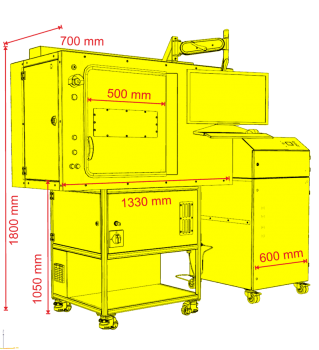 skyLASER Mark 500 Lasergravur Laser Faserlaser 120x120 bis zu 300x300 mm Scannfeld Z Achse bis zu 450mm pfiffige Lasergravurmaschine Arbeitsbereich 670x320x400 mm,skyLASER Mark 500 Bauschema mit Absaugung